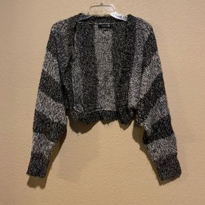Forever 21 Crop Black and Grey Cardigan